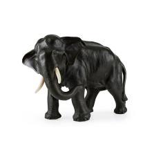 <sup>Y</sup> LARGE BRONZE ELEPHANT BY GENRYUSAI SEIYA, MEIJI PERIOD 38cm long