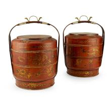 PAIR OF MASSIVE LACQUER PORTABLE STACKING BAMBOO FOOD BOXES LATE 19TH/EARLY 20TH CENTURY 56cm high