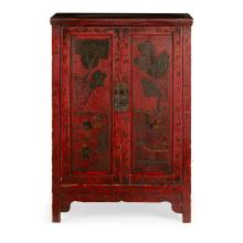 RED LACQUER TWO-DOOR CABINET LATE 19TH CENTURY 103cm high, 68cm wide, 38cm deep