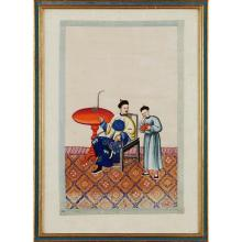 TWO PAINTINGS ON PITH PAPER QING DYNASTY, 19TH CENTURY 34x21cm (sight)