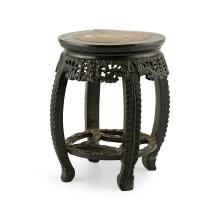 MARBLE TOP HARDWOOD STOOL LATE 19TH/EARLY 20TH CENTURY 52cm high
