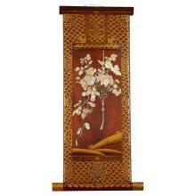 <sup>Y</sup> GILT-LACQUERED SHIBAYAMA-INLAID WOOD PANEL MEIJI PERIOD 60cm high