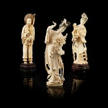 <sup>Y</sup> THREE IVORY FIGURES OF IMMORTALS 19TH/20TH CENTURY largest 27.5cm high