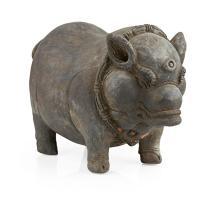 RARE JAVANESE POTTERY PIGGY BANK MAJAPAHIT PERIOD, 14TH/15TH CENTURY 26cm long
