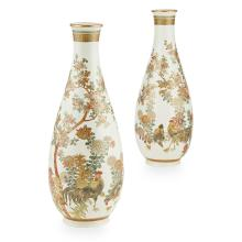 PAIR OF SATSUMA 'COCKEREL' VASES KINKOZAN MARK, MEIJI PERIOD 29.5cm high