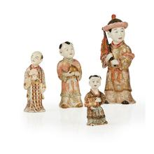 COLLECTION OF FOUR SATSUMA FIGURES STYLE OF CHIN JUKAN, MEIJI PERIOD largest 22cm high