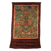 THANGKA DEPICTING SCENES FROM THE LIFE OF BUDDHA SHAKYAMUNI LATE 19TH/EARLY 20TH CENTURY 75x52cm (sight)