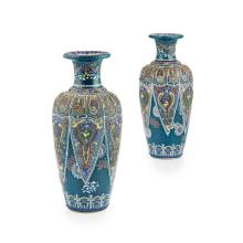 PAIR OF SATSUMA GREEN-GROUND MORIAGE VASES BY TANZAN, MEIJI PERIOD 25cm high