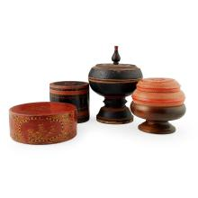 ASSEMBLED GROUP OF FOUR SOUTHEAST ASIAN LACQUER BETEL NUT BOXES 19TH CENTURY largest 32cm high