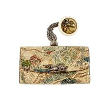 LEATHER TABAKO-IRE (TOBACCO POUCH) WITH A MIXED METAL KAGAMIBUTA-NETSUKE MEIJI PERIOD 14.3cm wide