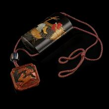MOTHER-OF-PEARL INLAID FOUR-CASE LACQUER INRO MEIJI PERIOD 8.2cm high