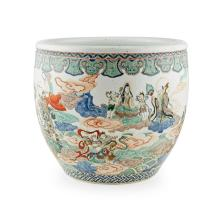 LARGE FAMILLE VERTE 'INVESTITURE OF THE GODS' FISH BOWL POSSIBLY LATE QING DYNASTY 44cm diam