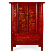 GILT-DECORATED RED-LACQUER CABINET QING DYNASTY, LATE 19TH CENTURY 193cm high, 140cm wide, 56cm deep