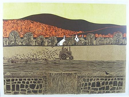 ROBERT TAVENER TRACTOR AND DOWNS Screenprint