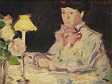 § JOHN DUNCAN FERGUSSON R.B.A. (SCOTTISH 1874-1961) AT THE DINNER TABLE 18cm x 23.5cm (7in x 9.5in)