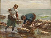 WILLIAM MARSHALL BROWN R.S.A., R.S.W. (SCOTTISH 1863-1936) FISHER BAIRNS 23cm x 31cm (9in x 12in)