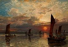 SAM BOUGH R.S.A. (SCOTTISH 1822-1878) THE DEPARTURE OF THE FLEET 23cm x 33cm (9in x 13in)