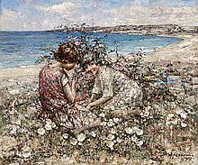 EDWARD ATKINSON HORNEL (SCOTTISH 1864-1933) GATHERING WILD FLOWERS, BRIGHOUSE BAY 76cm x 91cm (30in x 36in)