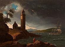 JOHN KNOX (SCOTTISH 1778-1845) THE CLOCH LIGHTHOUSE DURING A STORM 54.5cm x 76cm (21.5in x 30in)