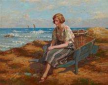 § JOHN MCGHIE (SCOTTISH 1867-1951) WAITING FOR THE FLEET 71cm x 91cm (28in x 36in)