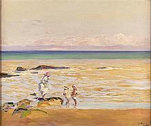 SIR JOHN LAVERY R.A., R.S.A., R.H.A., P.R.P., R.O.I., L.L.B. (IRISH 1856-1941) THE BEACH 63cm x 76cm (25in x 30in)