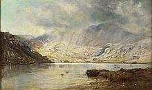 ALFRED DE BREANSKI SNR. (BRITISH 1852-1928) A BREAK IN THE CLOUDS, BEN LEDI 76cm x 127cm (30in x 50in)