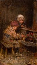 ROBERT GEMMELL HUTCHISON R.B.A., R.O.I., R.S.A., R.S.W. (SCOTTISH 1860-1936) TENDING THE STOVE 23cm x 13cm (9in x 5in)