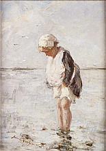 ROBERT GEMMELL HUTCHISON R.B.A., R.O.I., R.S.A., R.S.W. (SCOTTISH 1860-1936) WADING 46cm x 25.5cm (18in x 10in)