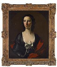 ALLAN RAMSAY (SCOTTISH 1713-1784) HALF LENGTH PORTRAIT OF MRS ANNE SHAIRP OF HOUSTON 76cm x 63cm (30in x 25in)