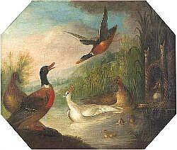 MARMADUKE CRADDOCK (C.1660-1711) ASSORTED WATERFOWL ON A LAKE 64cm(25.5in) x 75cm(30in) and a companion a pair Ornamental birds in...