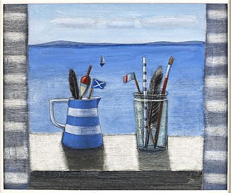§ JOCK MACINNES R.G.I (SCOTTISH B. 1943) SUMMERTIME WINDOW WITH STRIPED CURTAINS 48cm x 59cm (19in x 23in)