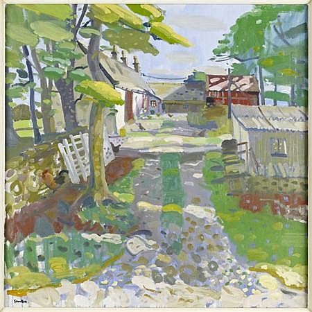 § GLEN SCOULLER (SCOTTISH B.1951) DAPPLED LIGHT, TULLOCH FARM, AYRSHIRE 91cm x 91cm (36in x 36in)
