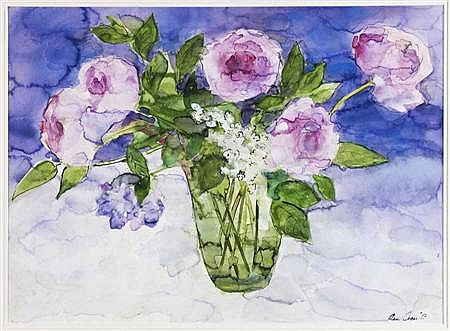 § ANN ORAM R.SW (SCOTTISH B.1956) PEONIES AND LILAC 11 56cm x 76cm (22in x 30in)