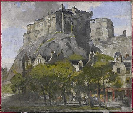 JOHN GUTHRIE SPENCE SMITH R.S.A (SCOTTISH 1880-1951) EDINBURGH CASTLE FROM THE GRASSMARKET 86.5cm x 102cm (34in x 40in)
