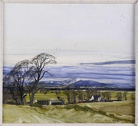 † § JAMES MORRISON R.S.A., R.S.W., L.L.D (SCOTTISH B.1932) AN ANGUS FARMSTEAD 49cm x 55cm (19.25in x 21.5in)