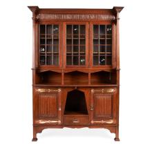 SHAPLAND & PETTER, BARNSTAPLE ARTS & CRAFTS OAK BOOKCASE CABINET, CIRCA 1900 138cm wide, 209cm high, 47cm deep