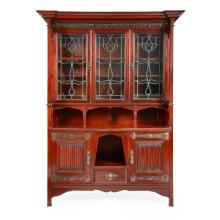 SHAPLAND & PETTER, BARNSTAPLE ARTS & CRAFTS MAHOGANY BOOKCASE CABINET, CIRCA 1910 140cm wide, 210cm high, 55cm deep