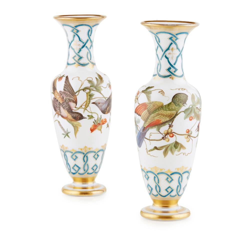 Decorative Arts Pair Of Enamelled Vases