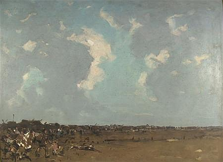 HAROLD STOREY (1888 - 1965) AN EXPANSIVE LANDSCAPE, SETTLERS 75cm x 100cm (29.5in x 39.25in)