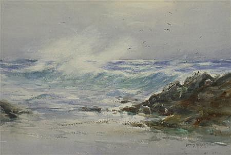 DAVID WEST R.S.W. (1868-1936) SUN AND SEA 24cm x 35.5cm (9.5in x 14in)