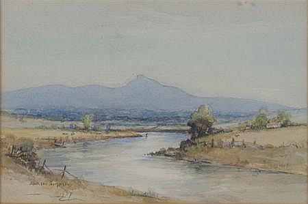 HENRY JACKSON SIMPSON (1893-1963) ANGLING ON THE DEESIDE 13.2cm x 20cm (5.2in x 8in)