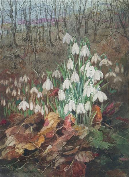 KATHERINE CAMERON R.S.W., R.E. (1874-1965) SNOWDROPS 33cm x 24cm (13in x 9.5in)