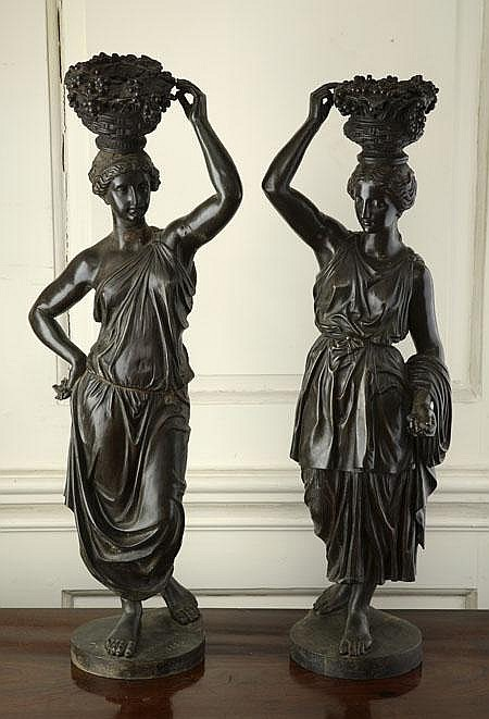 A pair of 19th century French bronze lampbases