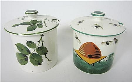 WEMYSS WARE PRESERVE JAR AND COVER, DATED 1947