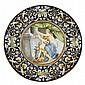 PAIR OF LARGE ITALIAN MAIOLICA CHARGERS LATE 19TH CENTURY 61cm diam