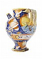 ITALIAN MAIOLICA APOTHECARY SYRUP JAR PESARO OR CASTEL DURANTE, CIRCA 1579 19cm diam, 25.5cm high