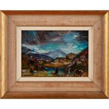 [§] HAMISH LAWRIE (SCOTTISH 1919-1987) TOWARDS APPLECROSS 17cm x 25cm (6.75in x 10in)