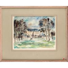 FIONA MACCORMICK (20TH CENTURY SCOTTISH) A COUNTRY HOUSE 33cm x 43cm (13in x 17in)