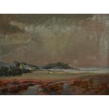[§] WILLIAM DRUMMOND BONE (SCOTTISH 1907-1979) MOODY LANDSCAPE 44cm x 59cm (17.25in x 23.25in)