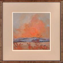 [§] IRENE HALLIDAY (SCOTTISH B.1931) WINTER SUNSET 28cm x 36cm (15.25in x 14in)